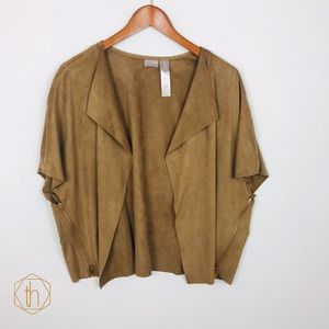 Chico's faux suede draped poncho cardigan 3 camel